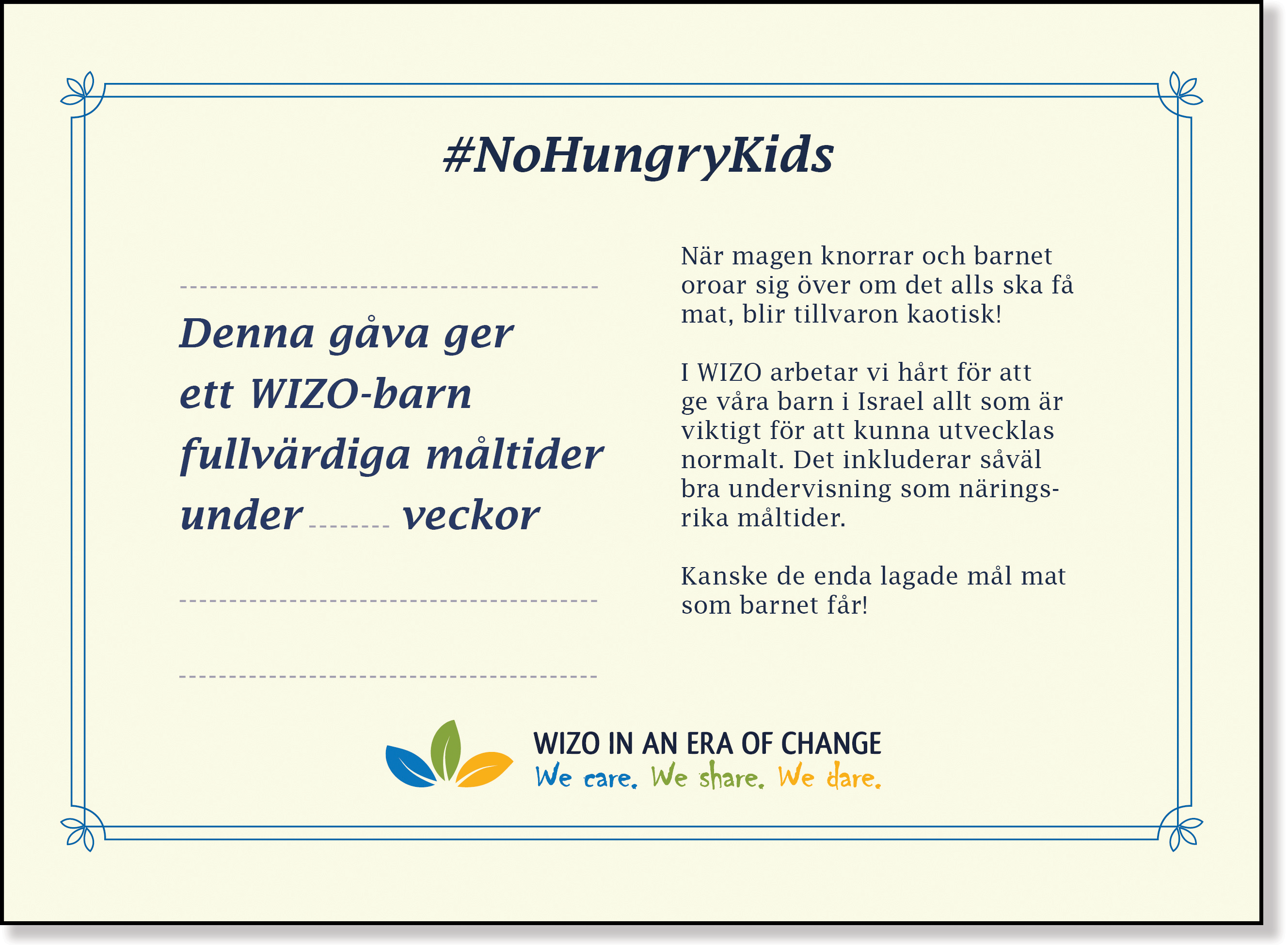 Gult veckokort No Hungry Kids baksida