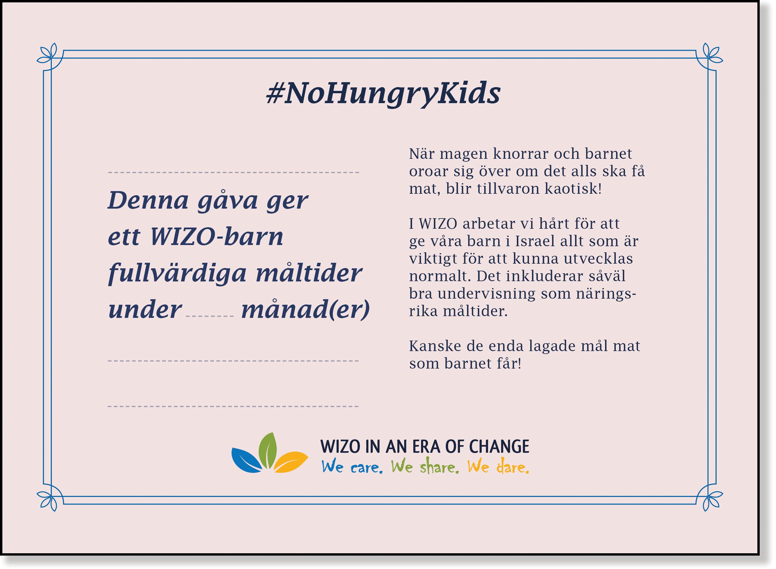 Rosa månadskort No Hungry Kids baksida