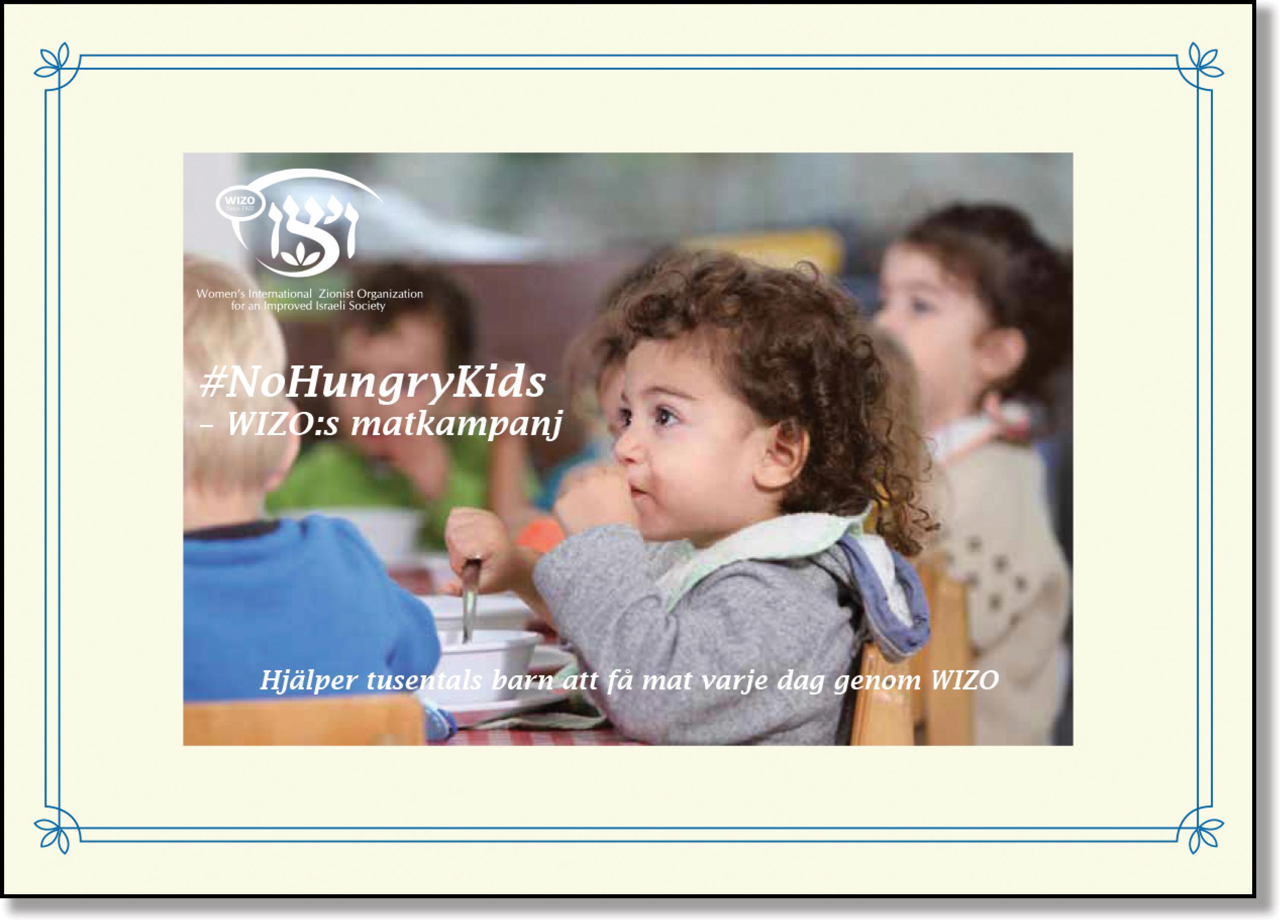 Gult veckokort No Hungry Kids framsida