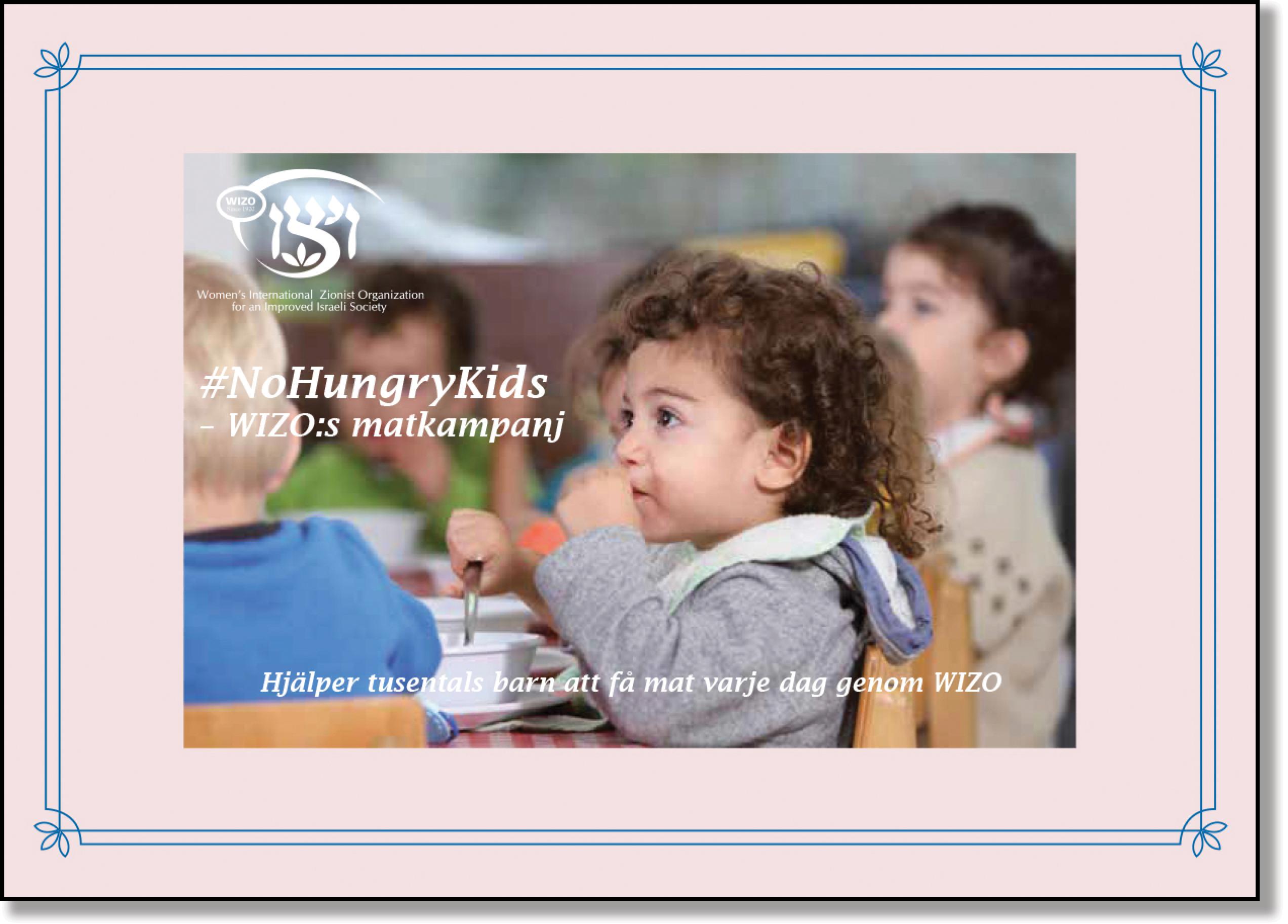 Rosa månadskort No Hungry Kids framsida