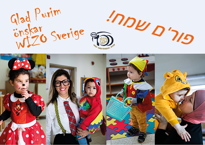 Utklädda barn och personal inför Purim