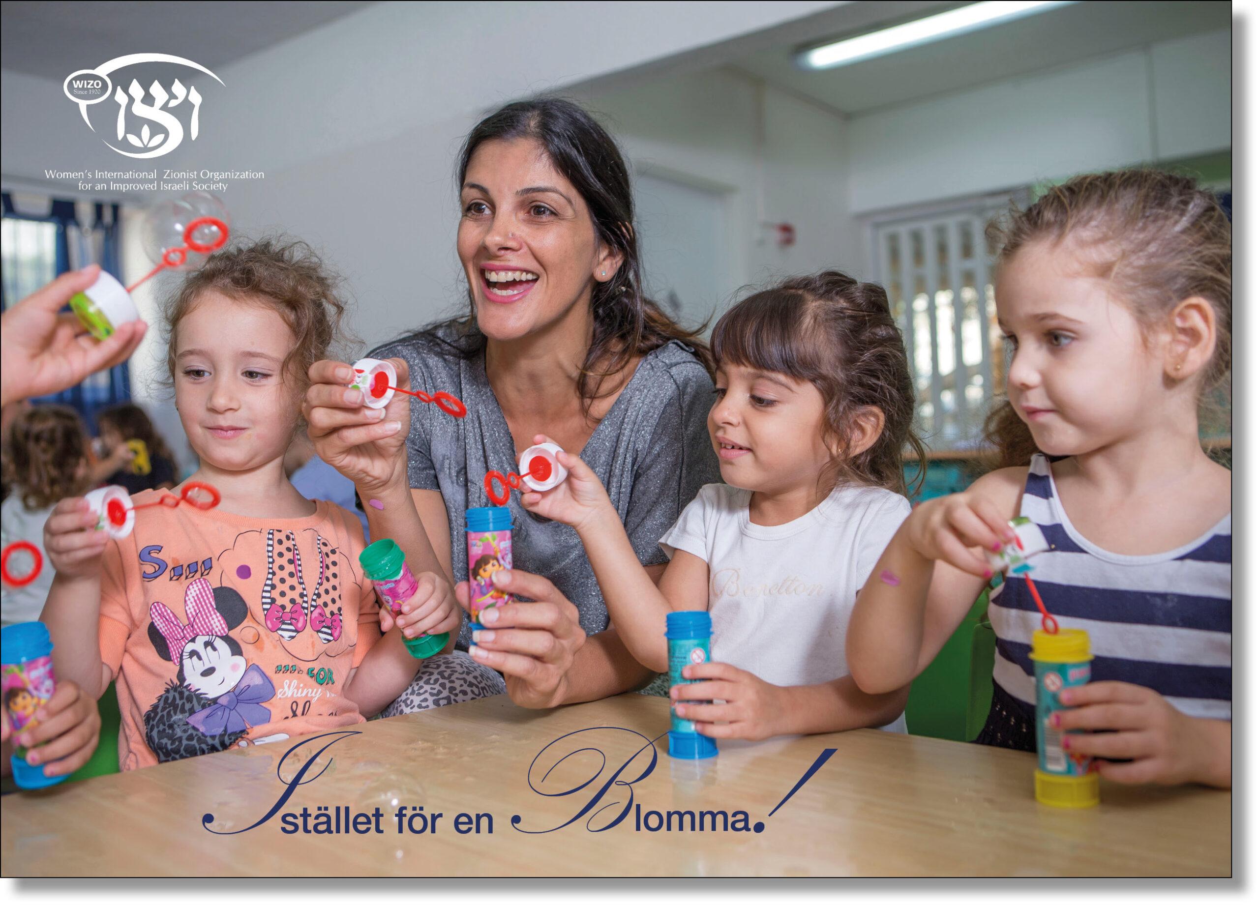 Barn och kvinna blåser såpbubblor