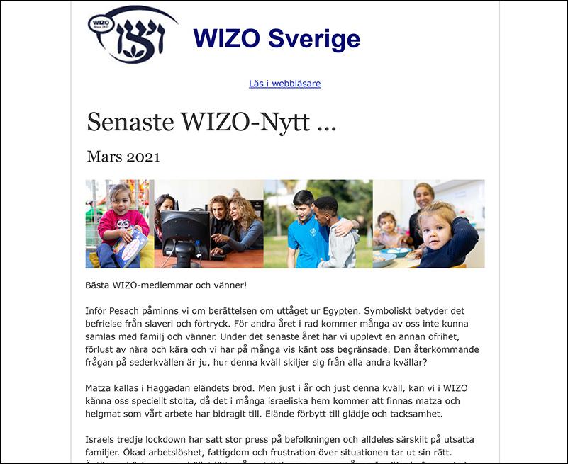 WIZO Sveriges nyhetsbrev Pesach 2021
