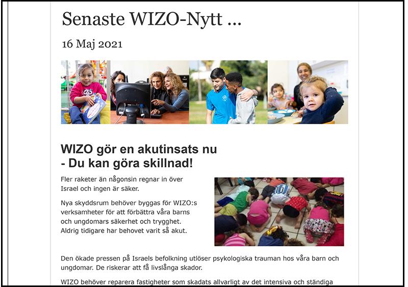 WIZO Sveriges nyhetsbrev Akutinsamling 16 maj 2021