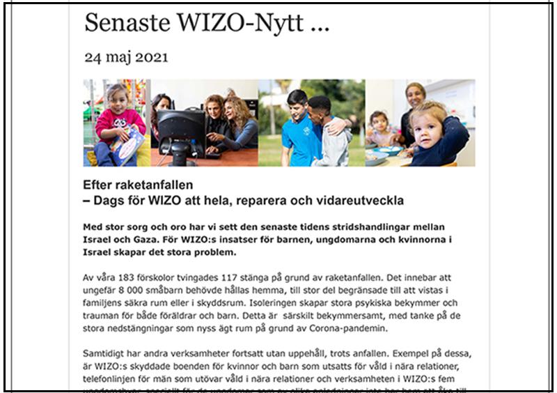 Framsida WIZO:s nyhetsbrev 24 maj 2021