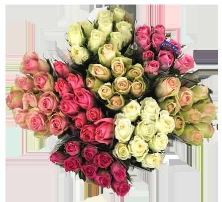 Rosenbuketter i olika färger